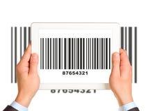 Businessmans hands holding UPC code Stock Images