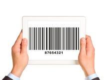 Businessmans hands holding UPC code Stock Photo