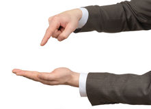 Businessmans hands pointing at empty space Royalty Free Stock Photo