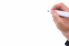 Businessmans-Handschrift mit Markierung Stockfoto