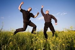 Businessmans jump Stock Photography