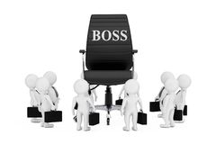 Businessmans Persons Around of Black Leather Boss Office Chair w. Ith Boss Sign on a white background. 3d Rendering Royalty Free Stock Photos