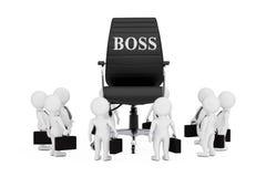 Businessmanspersonen rond van Zwart Leer Chef- Office Chair w Royalty-vrije Stock Foto's