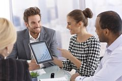 Businessmeeting with tablet stock image