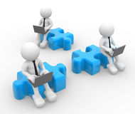 Businessmen. 3d people - man, person with a laptop and pieces of puzzle Royalty Free Stock Images