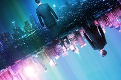 Creativity concept. Businessmen on abstract glowing split world city background. Creativity concept royalty free stock photos