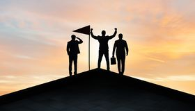 The businessmen in achievement and teamwork concept stock photography