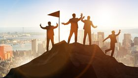 The businessmen in achievement and teamwork concept royalty free stock image