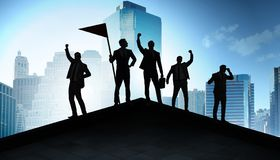 Businessmen in achievement and teamwork concept royalty free stock images