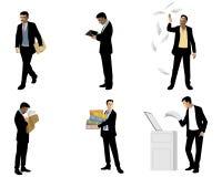 Businessmen in action. Vector illustration of six businessmen in action Stock Images
