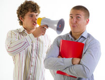 Businessmen aggressively speak Royalty Free Stock Image