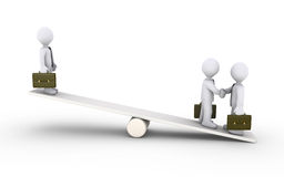 Businessmen agreement on a seesaw stock illustration