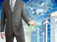 Businessmen with airplane, skyscrapers and money Royalty Free Stock Photos