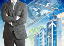 Businessmen with airplane, skyscrapers and money Royalty Free Stock Images
