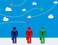 Businessmen and airplanes royalty free illustration