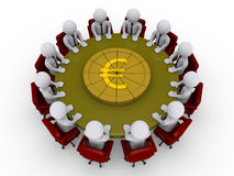 Businessmen around a table divide euro pie. 3d businessmen sitting around a table that has a euro pie on it Stock Image