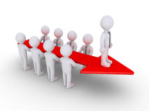 Businessmen arrow and leader. Businessmen are holding an arrow and the boss is on top of it Stock Photo