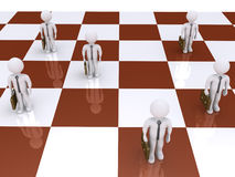 Businessmen as pawns on chessboard. 3d businessmen standing on a chess board as pawns Royalty Free Stock Image