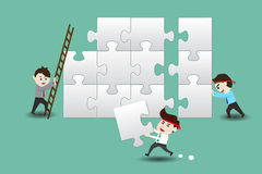 Businessmen assembling pieces of a puzzle. Teamwork, business men assembling pieces of a puzzle vector illustration