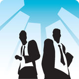 Businessmen on avenue. Two businessmen on avenue with buildings on background. Vector illustration Stock Photography