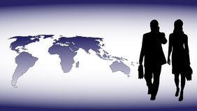 Businessmen on the background of the planet Royalty Free Stock Image