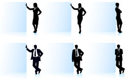 Businessmen with banners Stock Photography
