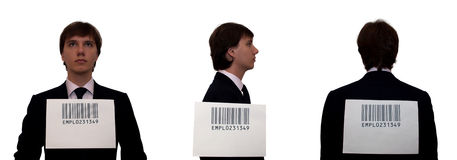 Businessmen with barcode, isolated on white Royalty Free Stock Photo