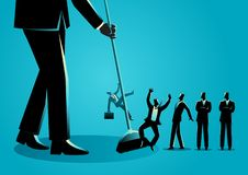 Businessmen being swept by a broom. Business concept vector illustration of a businessman sweeping, businessmen being swept by a broom. Downsizing, employee vector illustration
