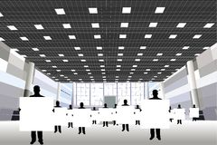 Businessmen with board in business center Royalty Free Stock Image