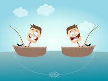 Businessmen on boats with knotted fishing line Stock Photo