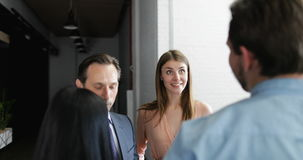 Businessmen boss explain his team of business people new strategy during meeting in modern office, mix race. Businesspeople group listening to leader speech stock footage