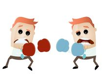 Businessmen boxing against each other Stock Photo