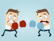 Businessmen boxing against each other Royalty Free Stock Image