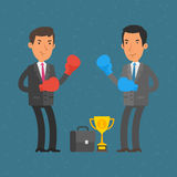 Businessmen and boxing duel Stock Photography