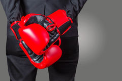 Businessmen with boxing gloves. Royalty Free Stock Photography