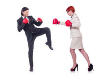 The businessmen with boxing gloves on white Royalty Free Stock Images