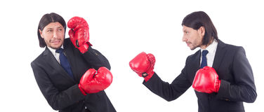 Businessmen with boxing gloves on white Stock Photography