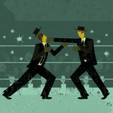 Businessmen boxing match. Two retro businessmen fighting in a boxing ring with a crowd watching. The boxers and background are on separate labeled layers Royalty Free Stock Images