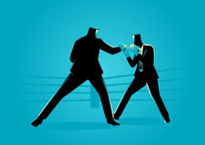 Businessmen in boxing ring fighting each other Stock Image