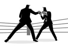 Businessmen in boxing ring fighting each other. Businessman concept vector illustration of businessmen in boxing ring fighting each other Stock Photography