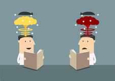 Businessmen with brains explosions in heads Royalty Free Stock Image