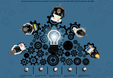 Businessmen brainstorm ideas and work. Powered backlash success Royalty Free Stock Images