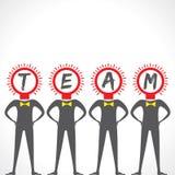 Businessmen bulb face make a team. Stock vector Stock Photos