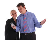 Businessmen and businesswoman look in a phone Stock Photos
