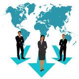 Businessmen and businesswoman making choices, world map, business concept, apps, vector illustration in flat design for web sites, Royalty Free Stock Photos