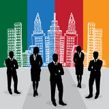Businessmen and businesswoman standing in front of sketch city background, vector, illustration Stock Image
