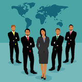 Businessmen and businesswoman standing in front of world map, vector, illustration Stock Photography