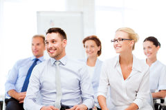 Businessmen and businesswomen on conference Royalty Free Stock Photography