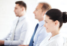 Businessmen and businesswomen on conference royalty free stock photo