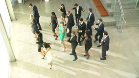 Businessmen And Businesswomen Dancing In Office Lobby stock video